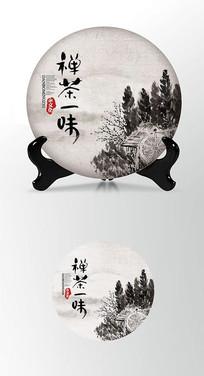 禅茶一味山水画茶叶棉纸茶饼包装设计