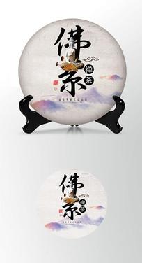 佛系佛像茶叶棉纸茶饼包装设计