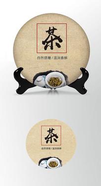 古朴墨迹茶叶棉纸茶饼包装设计