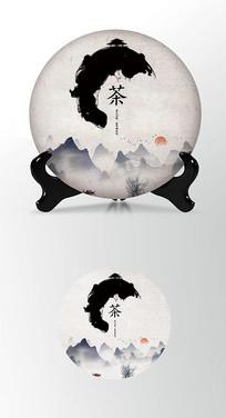 墨迹元素茶叶棉纸茶饼包装设计