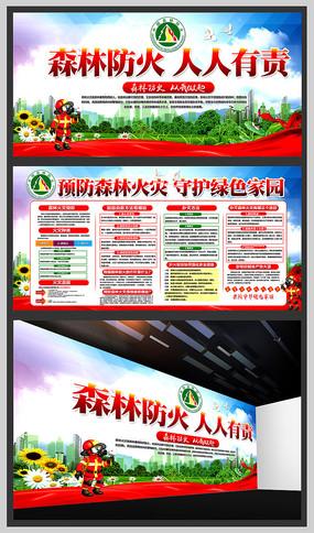 森林防火宣传展板模板