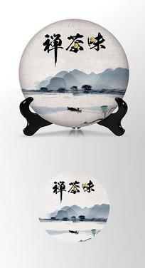山水背景茶饼包装棉纸内飞包装设计