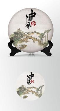 山水画茶饼包装棉纸内飞包装设计
