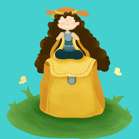 手绘女孩背包旅行元素