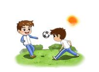 手绘踢足球玩耍卡通插画