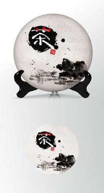 水墨墨迹茶饼棉纸图案包装设计