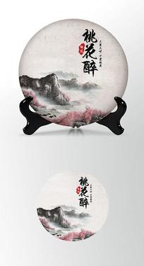 桃花醉茶饼棉纸图案包装设计