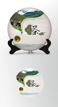 祥云古风茶叶棉纸茶饼包装设计