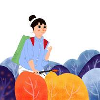 原创手绘女孩旅行郊游插画元素