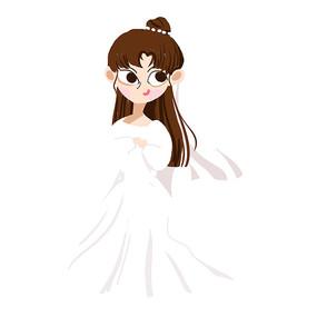 创意手绘女孩插画元素