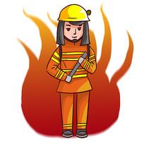 卡通创意消防员和火焰元素