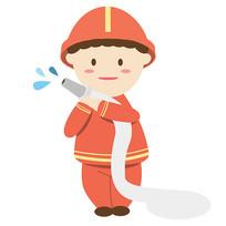 卡通消防员元素