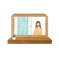 手绘窗户里的女孩插画元素