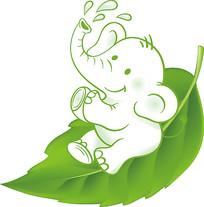 小象叶子插画