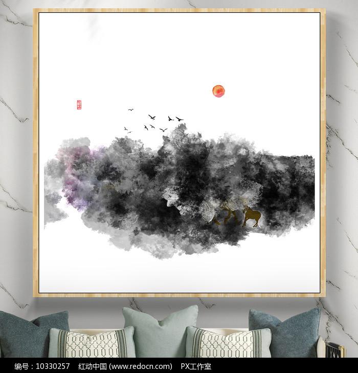 艺术山水画水彩画图片