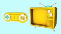 原创卡通电视机游戏机元素