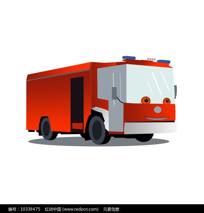 原创卡通消防车元素图片