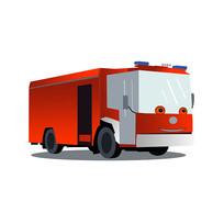 原创卡通消防车元素