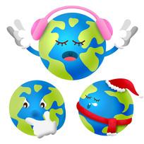 原创元素卡通环保地球表情
