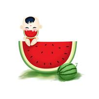 原创元素手绘吃西瓜