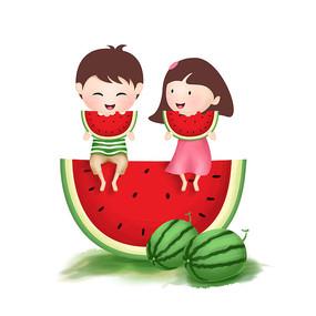 原创元素手绘卡通人物吃西瓜