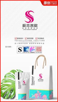 S字母logo设计化妆品标志商标设计