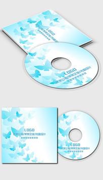 淡蓝色蝴蝶公司企业单位光盘封面设计 PSD