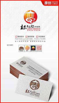 中国风古亭logo设计古建公司logo AI