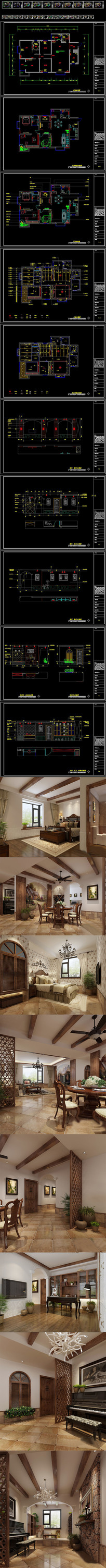 CAD优雅田园乡村两居室样板间装修施工图