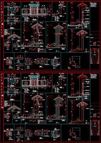 CAD中式门楼节点详图