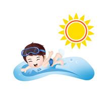 原創元素卡通游泳男孩