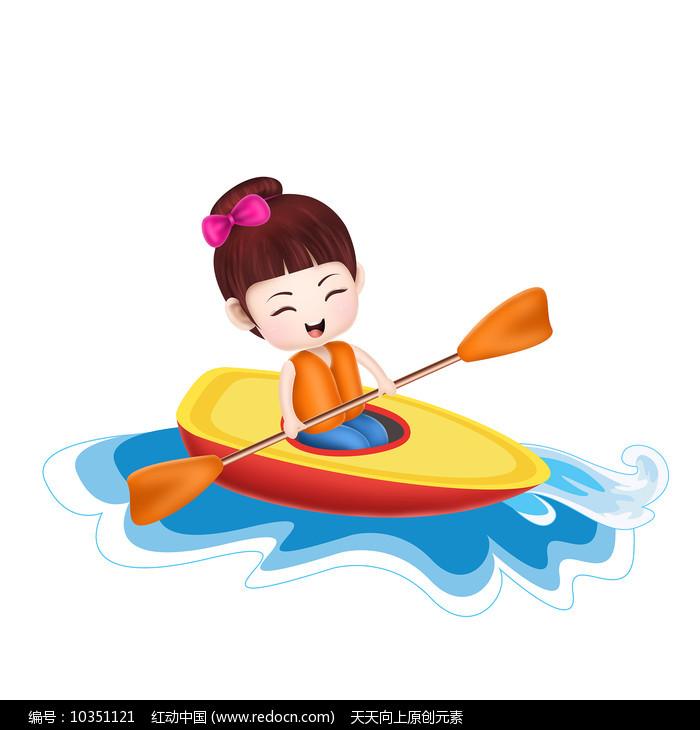 原创元素手绘卡通划船女孩图片
