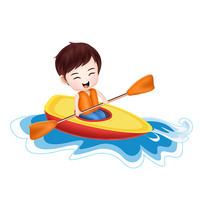 原创元素手绘卡通男孩划船