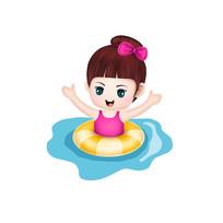 原創元素手繪泳圈女孩