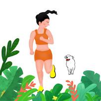手绘树叶叶子中早晨跑步的女孩元素