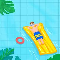 夏日游泳插画