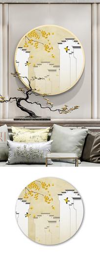 新中式工笔画银杏马头墙装饰画