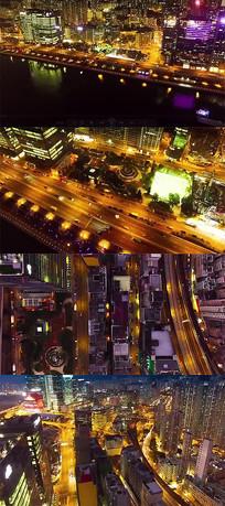 夜晚城市道路交通城市俯瞰图实拍视频素材