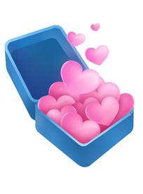 原创元素盒子飞出爱心