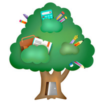 原创手绘插画卡通学习树