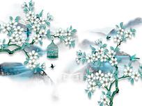 中式清新花鸟山水背景墙