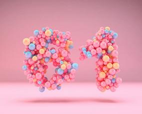 61儿童节可爱甜美气球字体元素