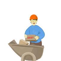 搬砖工人插画