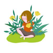 花丛中儿童