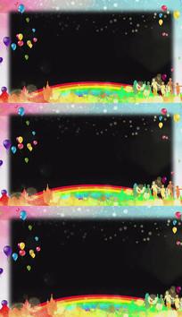 卡通彩虹儿童节透明边框视频素材