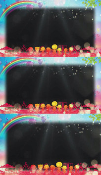 卡通公园儿童节透明边框成品视频素材
