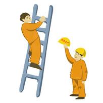 爬楼梯的工人插画