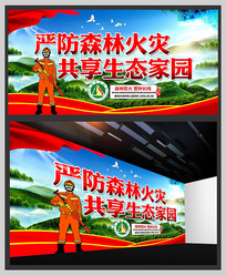 森林防火宣传展板模板图片