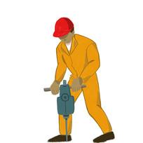 钻地工人手绘插画