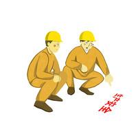 手绘创意建筑工人安全生产元素
